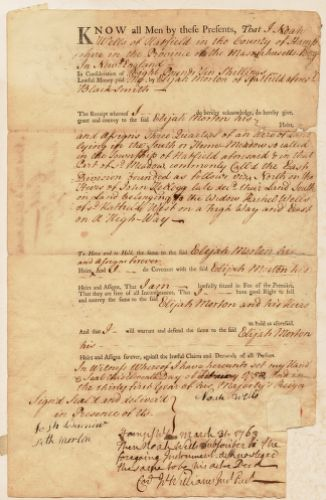 Land deed, Noah Wells to Elijah Morton, blacksmith; February 11, 1750 [or 1752?]