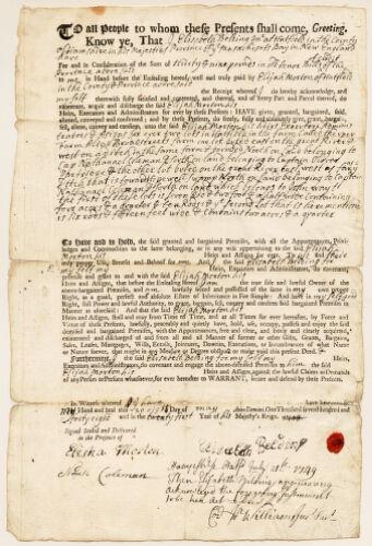 Land deed, Elizabeth Belding to Elijah Morton, May 28, 1748