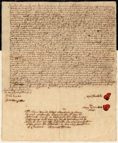 Land deed (handwritten), Joseph Chamberlin of Coniticot to Sam Billing, February 15, 1706/7