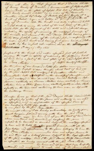 Sale agreement, David Childs for Joseph Hill to Perez Morton, 1821