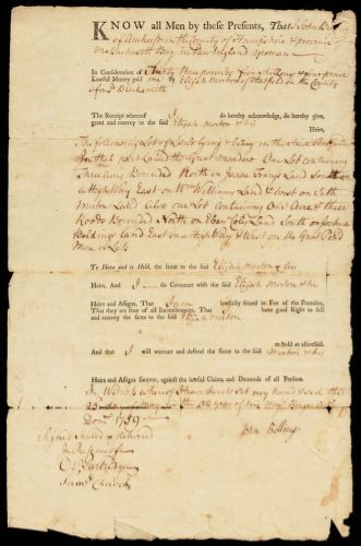 Deed, John Billing, Amherst, to Elijah Morton, 1759
