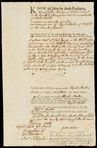 Deed, Joshua Warner, Williamsburgh, to Elijah Morton, 1786
