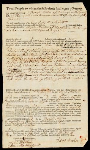Deed, Joseph Morton to Elijah Morton, 1792