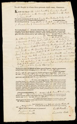 Deed, Caleb Booth to Perez Morton, 1817