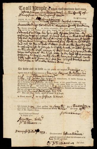 Deed, Joshua Warner to Samuel Partridge, 1773
