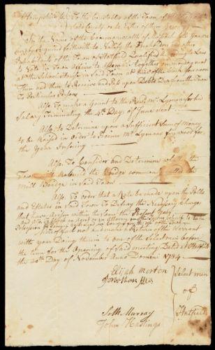 Call for town meeting; agenda (provide firewood for Rev. Lyman), 1784. Signed by Elijah Morton, Jonathan Ellis, Seth Murray, John Hastings