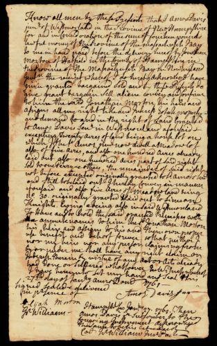 Deed, Amos Davis Jr. of Westmoreland, NH, to Jonathan Morton, 1776 (?)