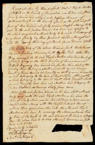 Bond, Elijah Morton to Joshua Warner of Williamsburgh, 1706 (?) or 1786