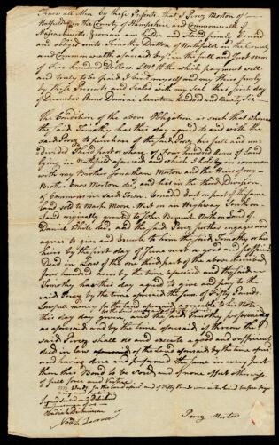 Bond, Perez Morton to Timothy Dutton of Northfield, 1796