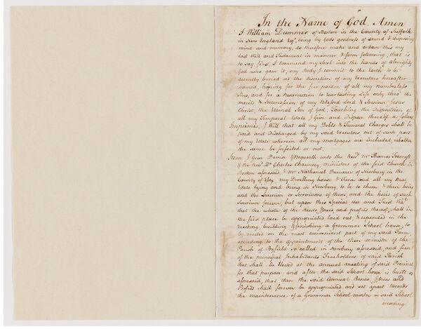 Will of William Dummer