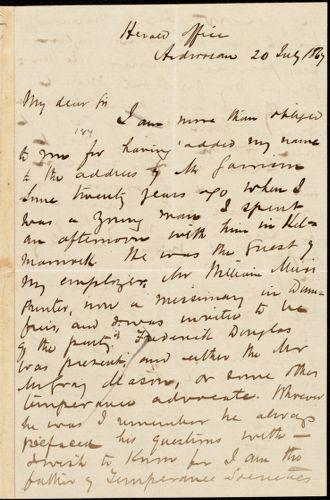 Letter from Arthur Guthrie, Ardrossan, [Scotland], to William Logan, 20 July 1867