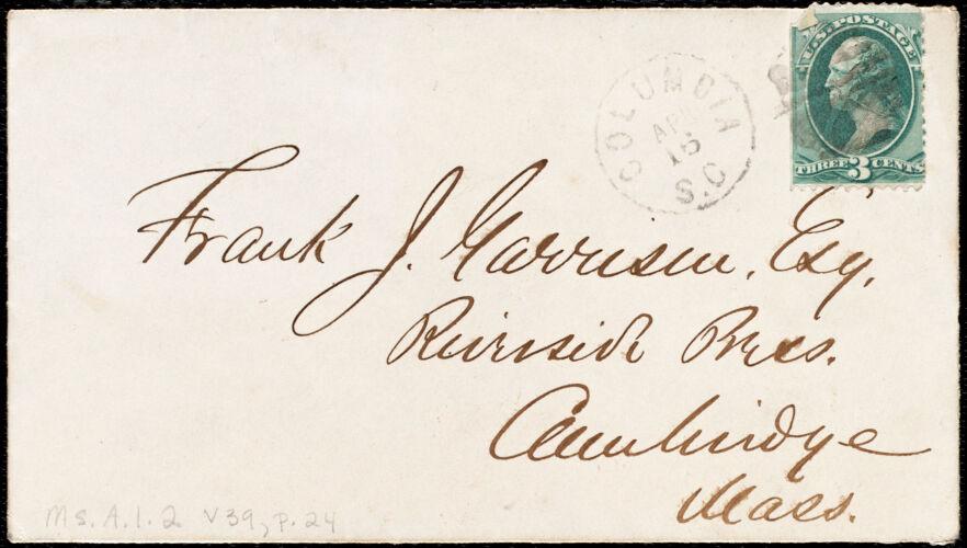 Letter from Daniel Henry Chamberlain, Columbia, S.C., to Francis Jackson Garrison, April 14. 1877
