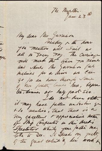 Letter from Agnes MacDonnell, [Beckenham, England], to Francis Jackson Garrison, June 23d [1877]