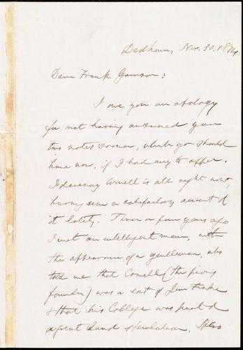 Letter from Edmund Quincy, Dedham, [Mass.], to Francis Jackson Garrison, Nov[ember] 30. 1874
