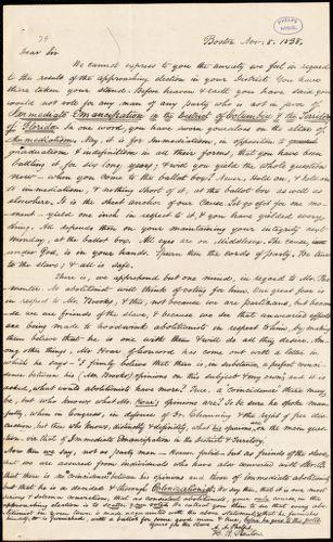 Circular letter from Amos Augustus Phelps, Boston, Nov. 8. 1838