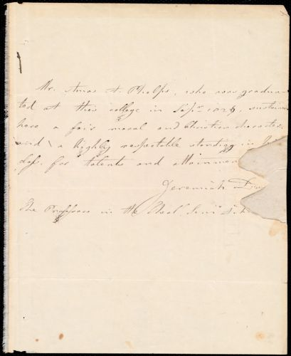 Certificate of graduation of Amos August Phelps from Jeremiah Day