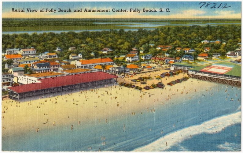 Aerial view of Folly Beach and amusement center, Folly Beach, S. C.