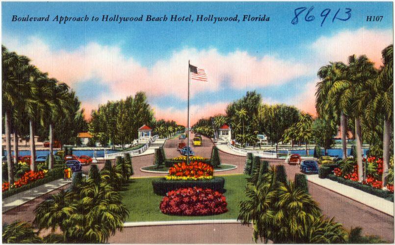 Boulevard approach to Hollywood Beach Hotel, Hollywood, Florida