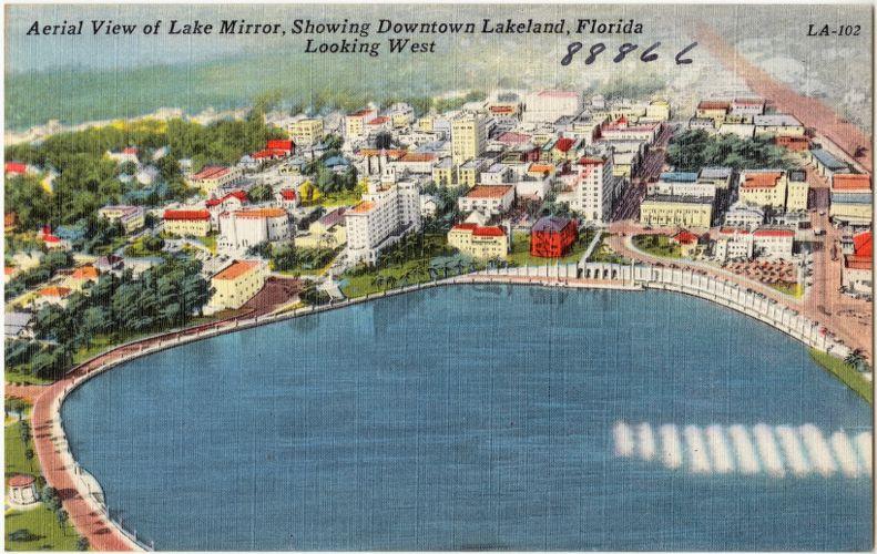 Aerial view of Lake Mirror, showing downtown Lakeland, Florida looking west