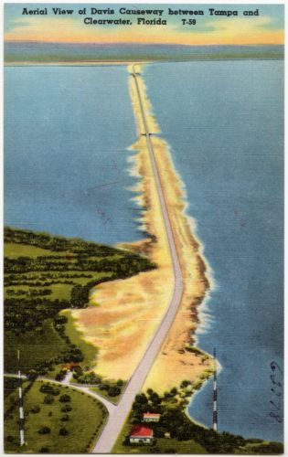 Aerial view of Davis Causeway between Tampa and Clearwater, Florida