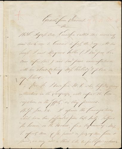 Amos Bronson Alcott copied extracts from diary about Margaret Fuller dated between 2 Aug 1836 and 2 Jan 1851
