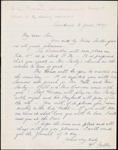 Hiram Fuller manuscript letter to Ralph Waldo Emerson, Providence, Rhode Island, 6 July 1837