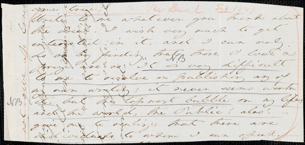 Margaret Fuller autograph letter (fragment) to William Henry Channing, 2 February 1841