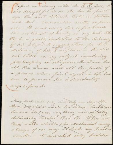 Margaret Fuller manuscript fragment, 1837