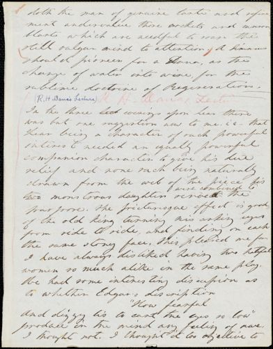 Margaret Fuller autograph manuscript fragment, 1837