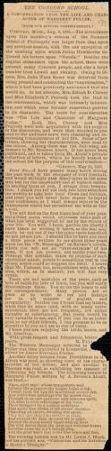 """Boston Daily Advertiser newspaper clipping, """"The Concord School. A conversation upon the life and character of Margaret Fuller"""", 9 August 1883"""