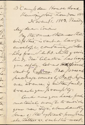 William Henry Channing autograph letter signed to Thomas Wentworth Higginson, London, 1 November 1883