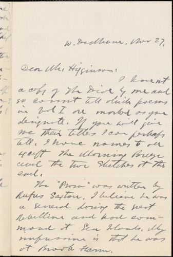 George Willis Cooke autograph letter signed to Thomas Wentworth Higginson, West Dedham, Mass., 27 November 1883?