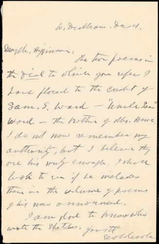 George Willis Cooke autograph note signed to Thomas Wentworth Higginson, West Dedham, Mass., 4 December 1883?