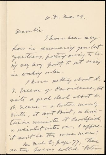 George Willis Cooke autograph letter signed to Thomas Wentworth Higginson, West Dedham, Mass., 29 December 1883?