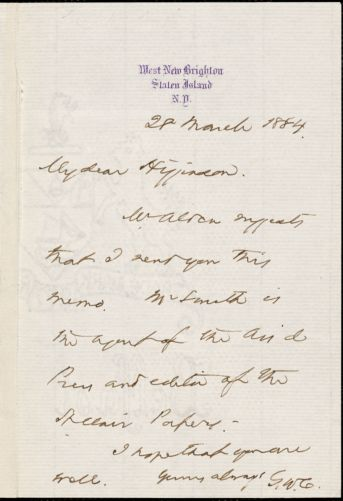 George Willis Curtis autograph note signed to Thomas Wentworth Higginson, Staten Island, N. Y., 28 March 1884