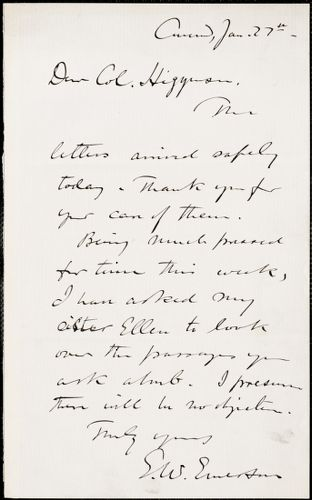 Edward Waldo Emerson autograph note signed to Thomas Wentworth Higginson, Concord, Mass., 27 January 1884