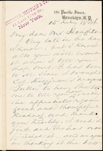 Frederick A. Farley autograph letter signed to Houghton, Mifflin & Co., Brooklyn, 15 July 1884