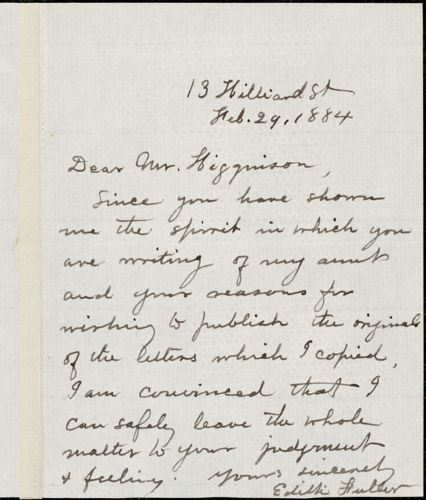 Edith Davenport Fuller autograph note signed to Thomas Wentworth Higginson, 29 February 1884