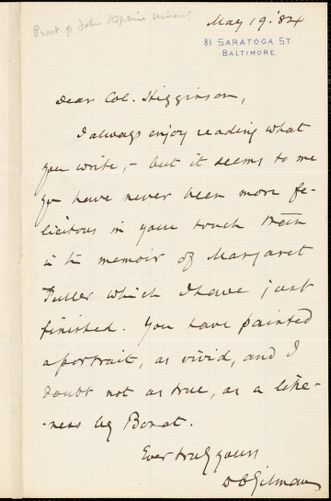 Daniel Coit Gilman autograph note signed to Thomas Wentworth Higginson, Baltimore, 19 May 1884