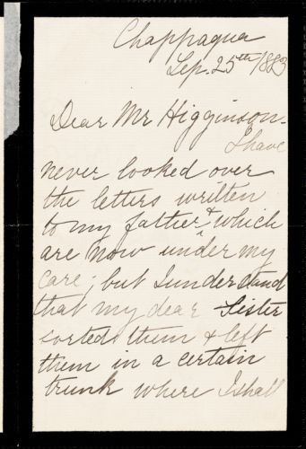 Gabrielle Greeley autograph letter signed to Thomas Wentworth Higginson, Chappaqua, N. Y., 25 September 1883