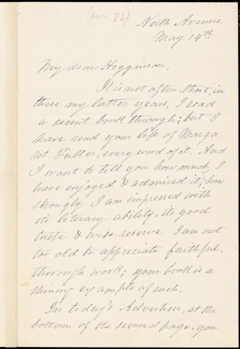 Frederick Henry Hedge autograph note signed to Thomas Wentworth Higginson, Cambridge, Mass., 14 May 1884