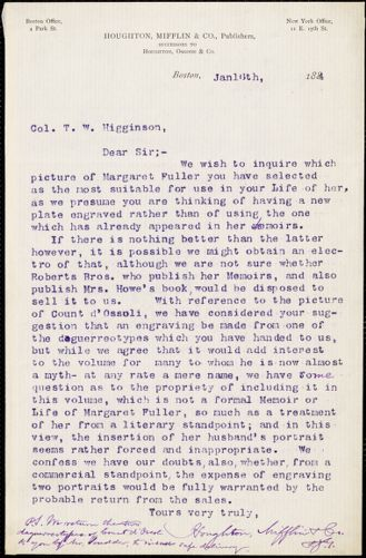 Houghton, Mifflin, & Co. typed letter signed to Thomas Wentworth Higginson, Boston, Mass., 16 January 1884