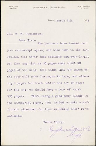 Houghton, Mifflin, & Co. typed letter signed to Thomas Wentworth Higginson, Boston, Mass., 7 March 1884