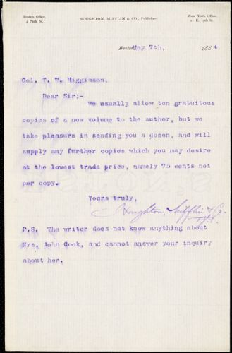 Houghton, Mifflin, & Co. typed letter signed to Thomas Wentworth Higginson, Boston, Mass., 7 May 1884