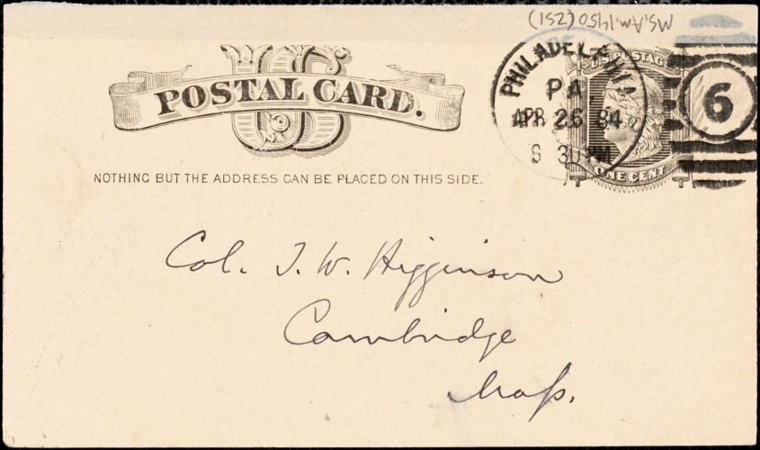 J. S. Rosengarten autograph note signed to Thomas Wentworth Higginson, Philadelphia, 26 April 1884