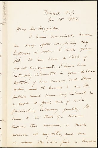 Charles Dudley Warner autograph letter signed to Thomas Wentworth Higginson, Princeton, N. J., 15 February 1884