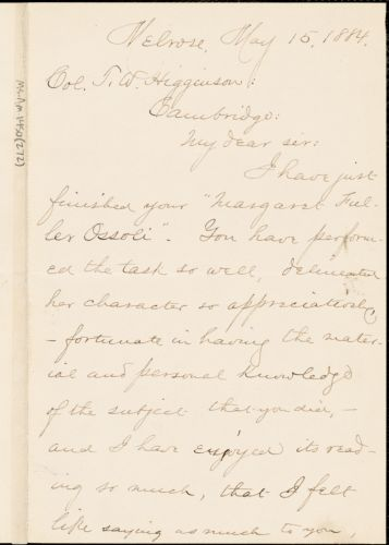 Elbridge Henry Goss autograph letter signed to Thomas Wentworth Higginson, Melrose, Mass., 15 May 1884