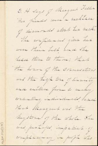 Elizabeth L. Hoar manuscript (copy) extract