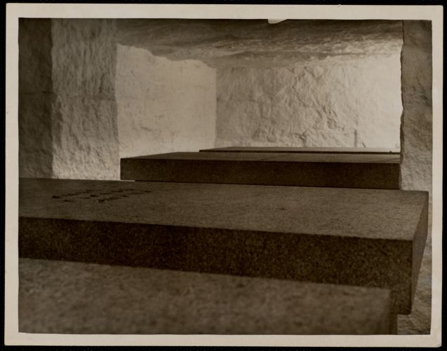 Tomb of the Adams- John Adams in foreground - Abigail - John Q. Adams -Louisa C. Adams - in basement of. Mass:Quincy- church The Stone Temple Church of the Presidents