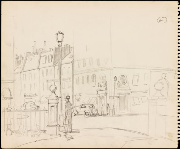 Sketch of corner of Beacon and Charles Street